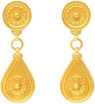 Ben-Amun Teardrop Clip Earrings with Flower Detail