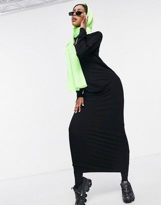 ASOS DESIGN long sleeve maxi t-shirt dress in black