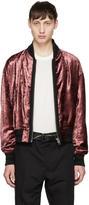 Haider Ackermann Pink Velvet Elbow Patches Bomber Jacket