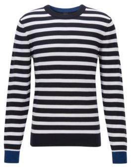 HUGO BOSS Striped Sweater In Soft Cotton - Dark Blue