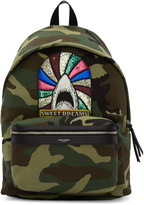 Saint Laurent Green Camouflage Sweet Dreams City Backpack