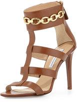 Diane von Furstenberg Uma Chain-Link Sandal, Brandy Brown