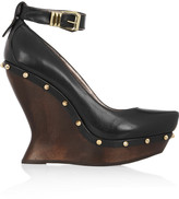 McQ by Alexander McQueen Studded leather and wooden wedge pumps
