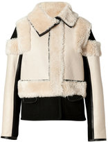 Chloé Lambskin Leather Zip Jacket in Natural
