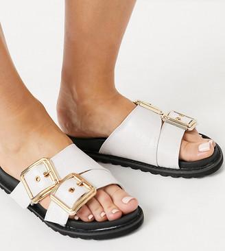 Glamorous Wide Fit chunky flat sandals in bone croc