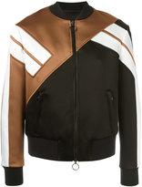 Neil Barrett striped sleeve bomber jacket - men - Silk/Polyamide/Polyester/Viscose - S