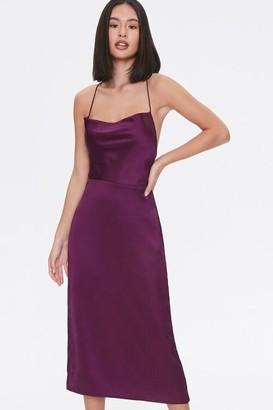 Forever 21 Satin Cowl Neck Midi Dress