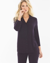 Soma Intimates 3/4-Sleeve Notch Collar Pajama Top Elite Geo Black
