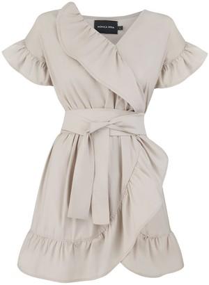 Monica Nera Juliette Beige Ruffle Dress