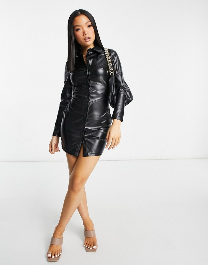 Thumbnail for your product : Parisian PU shirt dress in black