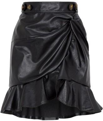 Self-Portrait Faux Leather Mini Skirt