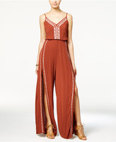 American Rag Embroidered Slit-Leg Jumpsuit, Only at Macy's