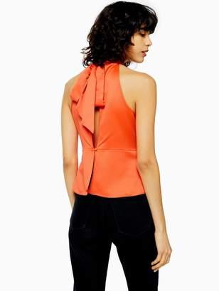 Topshop Satin Bow Back Halter Top - Orange