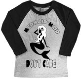 Micro Me Gray & Black 'Mermaid Hair' Raglan Tee - Toddler & Girls