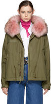 Mr & Mrs Italy Green and Pink Fur Collar Mini Parka
