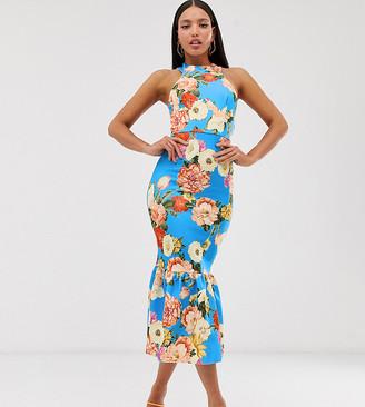 Asos Tall DESIGN Tall halter floral print pep hem midi bodycon dress-Blue