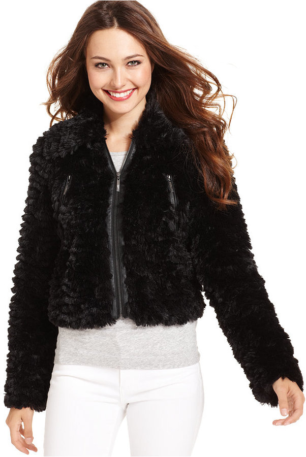 Kensie Long-Sleeve Faux-Fur Jacket (Only at Macy's)