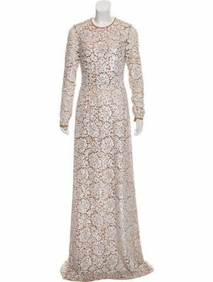 Michael Kors Floral Sequin Gown w/ Tags brown