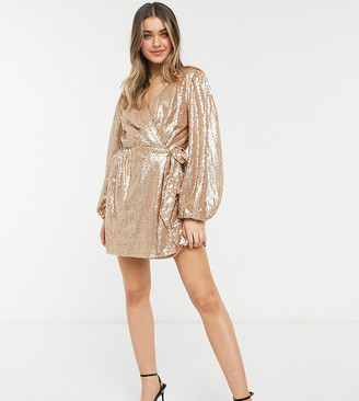 In The Style exclusive sequin square wrap detail mini skater dress in gold