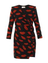 Saint Laurent Archive lips-print silk-crepe dress