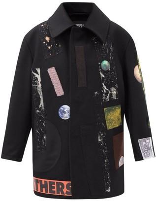 Raf Simons Aw14 Sterling Ruby Applique Wool Coat - Black