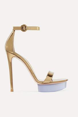Gianvito Rossi Godiva 135 Metallic Leather And Perspex Platform Sandals - Gold