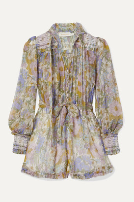 Zimmermann Super Eight Smocked Ruffled Floral-print Silk-chiffon Playsuit - Blue
