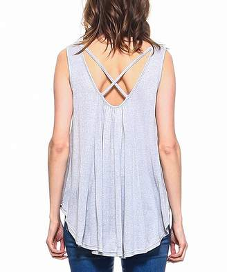 Leshop LeShop Women's Tank Tops GREY - Gray Strappy-Back Tank - Women
