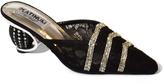 Platinum Black Lace-Detail Sparkle Mule