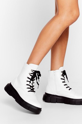 Nasty Gal Womens Cleat It Real Faux Leather Lace-Up Boots - White