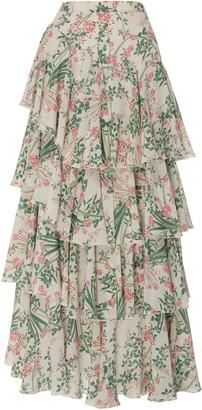 Giambattista Valli Tiered Floral Silk Maxi Skirt