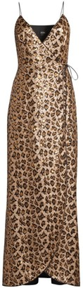 Aidan Mattox Leopard Sequin Wrap Gown