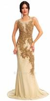 Atria Floral Beaded Illusion Prom Dress