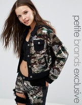 Liquor & Poker Petite Camo Sequin Jacket