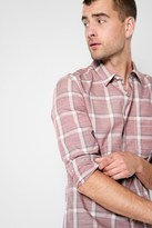 7 For All Mankind Washed Out Plaid Shirt In Sunwashed Red