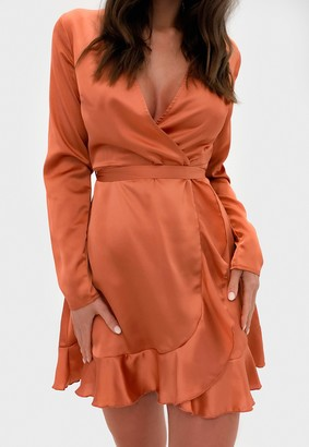 Missguided Rust Satin Ruffle Wrap Tea Dress