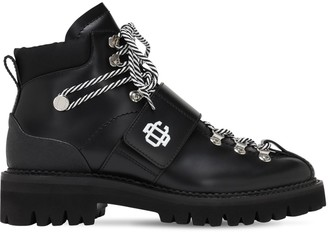 DSQUARED2 50mm Brushed Leather Ankle Lace-Up Boots
