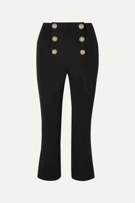 Balmain Cropped Button-embellished Wool-twill Bootcut Pants - Black