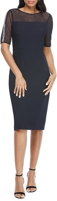 Maggy London Illusion Imitation Pearl Bead Sheath Midi Dress