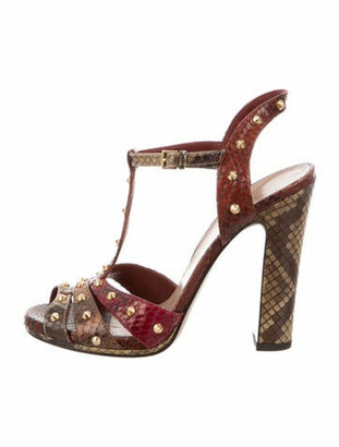 Gucci Spike Accents Snakeskin T-Strap Sandals
