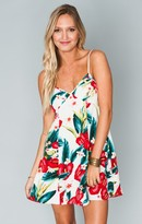 MUMU Winona Strappy Dress ~ Flamingo Flower Stretch
