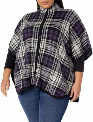 Jones New York Women's Plus Size Zip Front Mock Nk Cape W/Armholes
