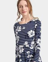 Joules Womens Kirsten Printed Jersey Tunic in French Navy Posy Stripe