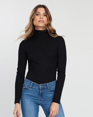 Atmos & Here Atmos&Here - Women's Black Bodysuits - Rory Rib Skivvy Bodysuit - Size 6 at The Iconic