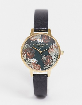 Olivia Burton OB16WG74 Winter blooms sunray dial leather watch in black