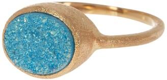 Rivka Friedman 18K Gold Clad Aqua Blue Druzy Quartz Satin Oval Ring