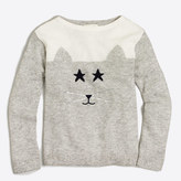 J.Crew Factory Girls' embellished cat intarsia popover sweater