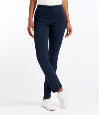L.L. Bean Women's Superstretch Slimming Pull-On Jeans, Classic Fit Straight-Leg