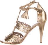 Alberta Ferretti Metallic Laser Cut Sandals