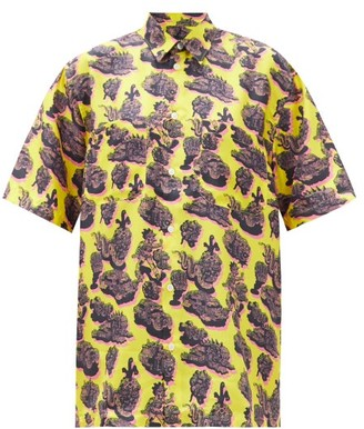 Stella McCartney Psychedelic-print Silk-twill Short-sleeved Shirt - Yellow Multi